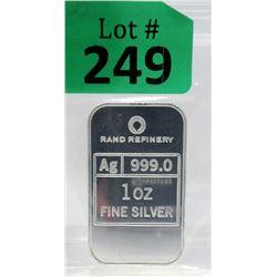 1Oz. Rand Refinery .999 Silver Bar