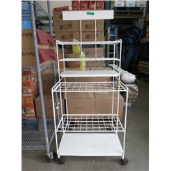 White Rolling Metal Retail Display Stand