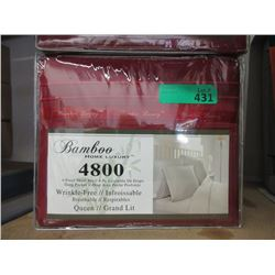 New Queen Size 4 Piece Polyester Sheet Set - Red