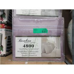 New Queen 4 Piece Polyester Sheet Set - Lavender
