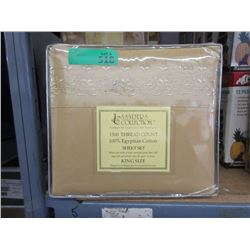 New King 4 Piece Egyptian Cotton Sheet Set - Gold