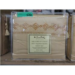 New King 4 Piece Polyester Sheet Set - Gold