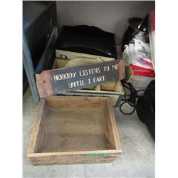 Wood Novelty Sign & 3 Wood Boxes