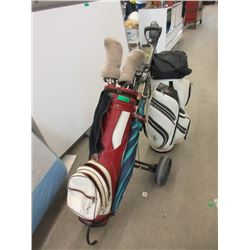 2 Golf Bags & Assorted Golf Clubs