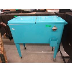 """Vintage Metal Rolling Cooler - 15"""" x 32"""" x 33"""" tall"""