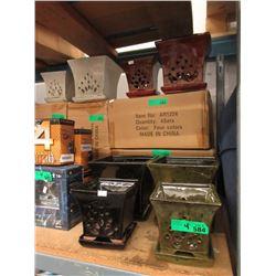 4 New 2 Piece Glazed Pottery Plant Pots