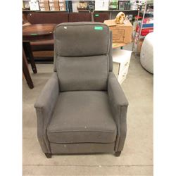 Grey Fabric Upholstered Push Back Recliner