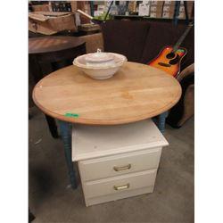"43"" Wood Table, Night Stand & Ceramic Basin"