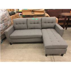 """New 76"""" Grey Fabric Sofa with Chaise End"""