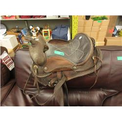 Leather Western Saddle with Stirrups