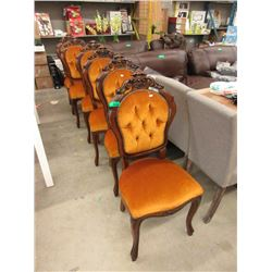 6 Vintage Carved Back Dining Chairs