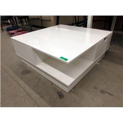 New White Lacquer Coffee Table with Drawers