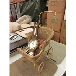 Barometer & Vintage Wicker Doll Carriage