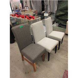 3 Assorted New Fabric Upholstered Dining Chairs