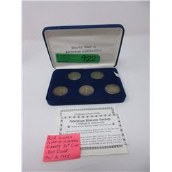 5 USA WWII .900 Silver Walking Liberty Half Dollar