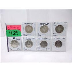 7 Canadian .800 Silver Half Dollar Coins - 1960's
