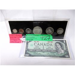 1967 Canadian Silver Coin Set & Mint $1 Bank Note