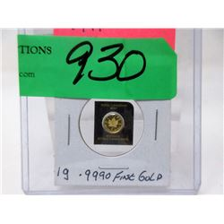2015 Canadian .9999 Fine Gold Maple 1 Gram Coin