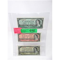 1954 Canadian $1, $2 and $20 Bank Notes
