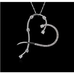 14KT White Gold 0.83 ctw Diamond Pendant With Chain
