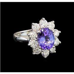 14KT White Gold 2.80 ctw Tanzanite and Diamond Ring