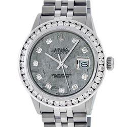 Rolex Mens Stainless Steel Meteorite 3 ctw Diamond Datejus 36MM Wristwatch With