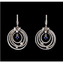 0.25 ctw Sapphire and Diamond Earrings - 14KT White Gold