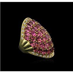 18KT Yellow Gold 8.36 ctw Tourmaline and Diamond Ring