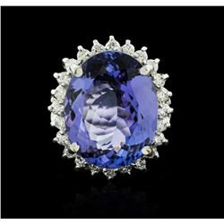 14KT White Gold 12.19 ctw Tanzanite and Diamond Ring