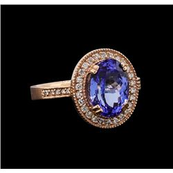 14KT Rose Gold 3.37 ctw Tanzanite and Diamond Ring