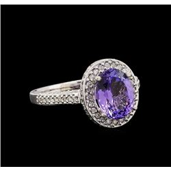 14KT White Gold 2.36 ctw Tanzanite and Diamond Ring