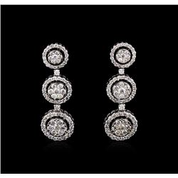 2.68 ctw Diamond Earrings - 14KT White Gold
