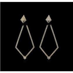 1.23 ctw Diamond Dangle Earrings - 14KT White Gold