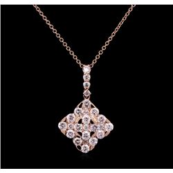1.75 ctw Diamond Pendant With Chain - 14KT Rose Gold