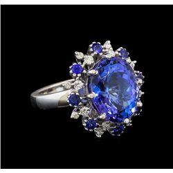 14KT White Gold 9.22 ctw Tanzanite, Sapphire and Diamond Ring