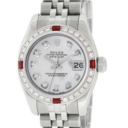 Rolex Ladies Stainless Steel Quickset Mother Of Pearl Diamond & Ruby Datejust Wr