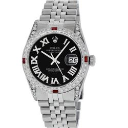 Rolex Mens Stainless Steel Black Roman Diamond & Ruby Datejust Wristwatch With R