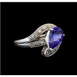 18KT White Gold 1.72 ctw Tanzanite and Diamond Ring