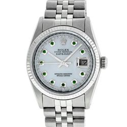 Rolex Mens Stainless Steel Mother Of Pearl Diamond & Emerald Datejust Wristwatch