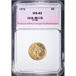 1878 $3 GOLD INDIAN PRINCESS  PNA  CH UNC
