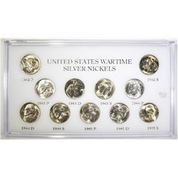 WWII SILVER NICKEL SET UNCIRC IN CAPITAL HOLDER