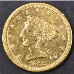 1866-S $2.5 GOLD LIBERTY  CH AU