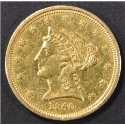 1840 $2.5 GOLD LIBERTY  AU