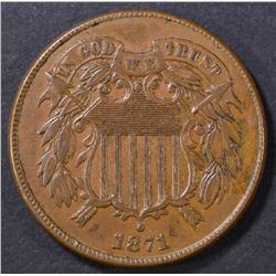 1871 2-CENT PIECE XF+