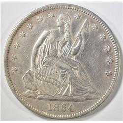 1864 SEATED HALF DOLLAR AU/BU