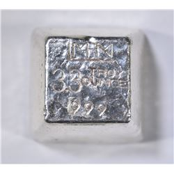 3.3 TROY OZ .999 POURED SILVER CANABIS STAMPED
