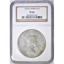 1955 5 SHILLING SOUTH AFRICA  NGC PF-65