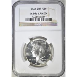 1965 SMS KENNEDY HALF DOLLAR  NGC MS-66 CAMEO