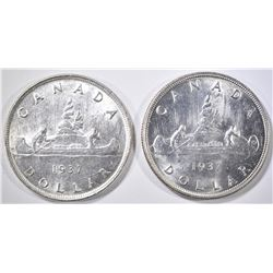 2 1937 CANADIAN SILVER DOLLARS