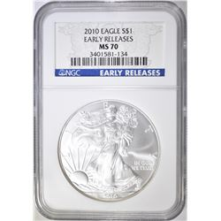 2010 AMERICAN SILVER EAGLE, NGC MS-70